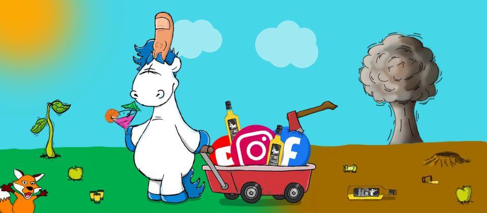 Das Stinkefingereinhorn bewegt sich sicher im Social Media
