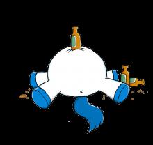 Das trinkfeste Stinkefingereinhorn erkennt seine Grenzen