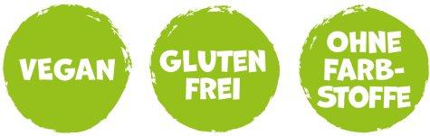Vegan, Glutenfrei, ohne Farbstoffe